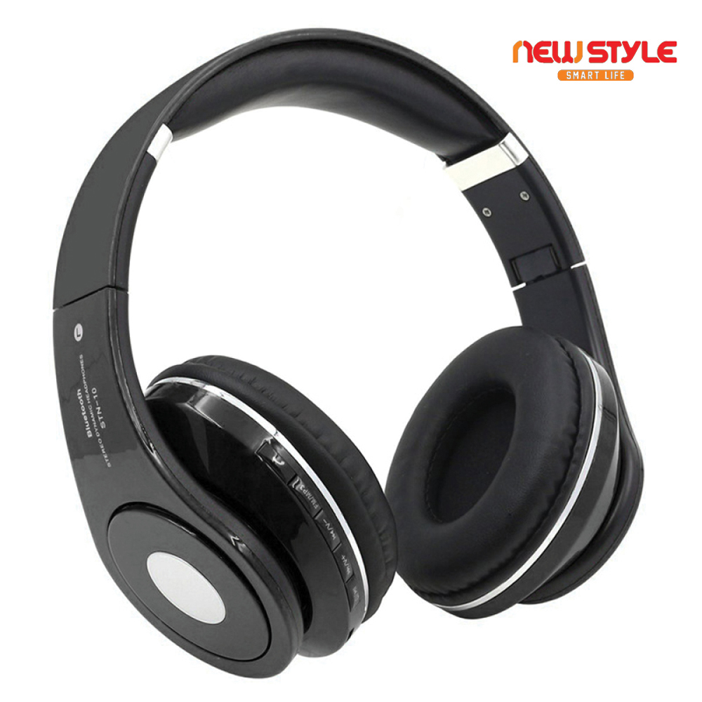 NewStyle STN-10 Wireless Sports Headset BT 4.2 Earphone with TF Slot FM Radio Black